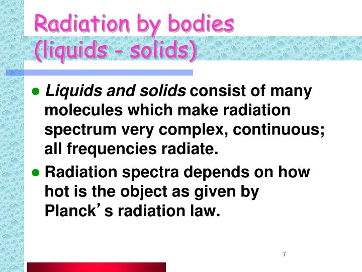Radiation by bodies