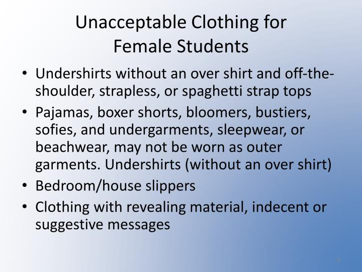 Unacceptable Clothing for