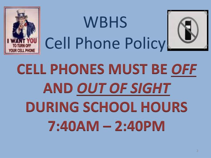 Wbhs cell phone policy