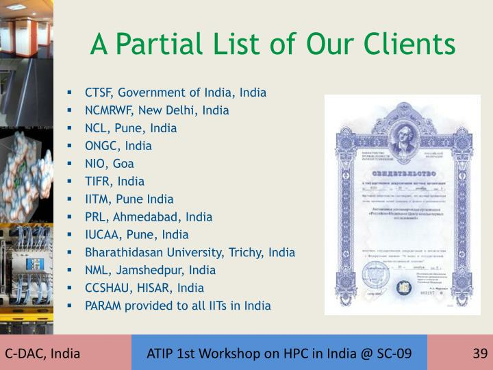 A Partial List of Our Clients