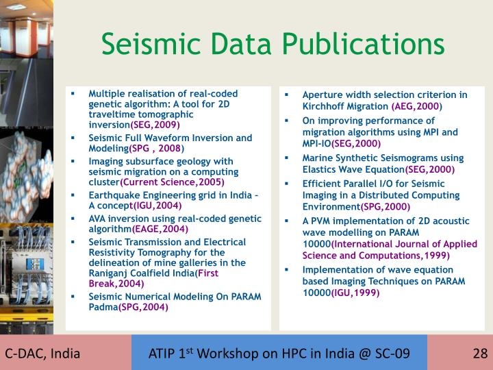 Seismic Data Publications