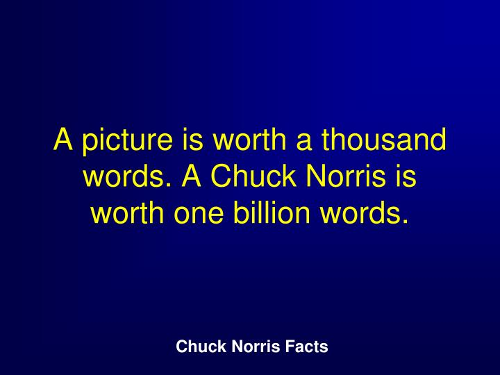 A picture is worth a thousand words. A Chuck Norris is worth one billion words.