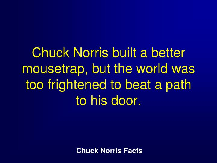 Chuck Norris built a better mousetrap, but the world was too frightened to beat a path to his door.