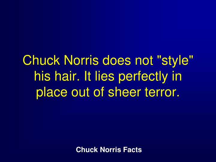 "Chuck Norris does not ""style"" his hair. It lies perfectly in place out of sheer terror."
