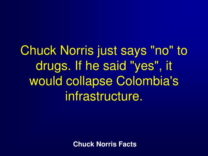 "Chuck Norris just says ""no"" to drugs. If he said ""yes"", it would collapse Colombia's infrastructure."