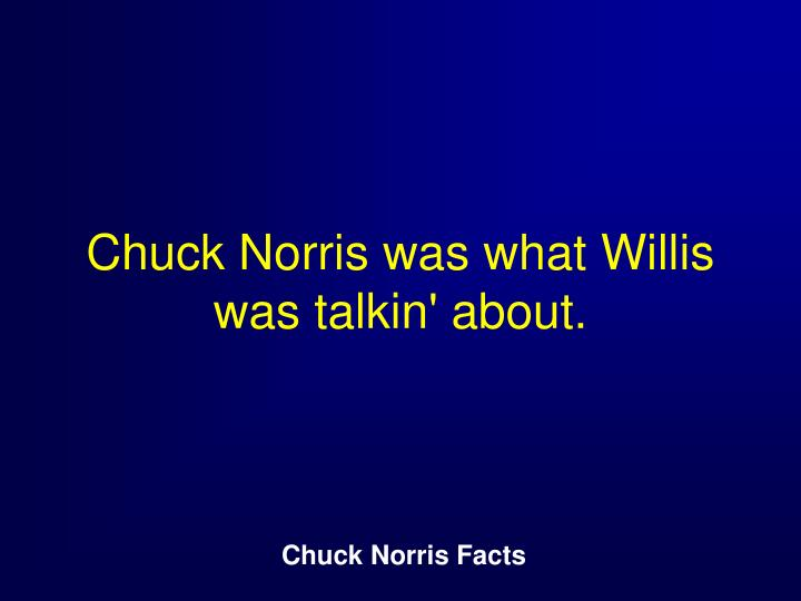 Chuck Norris was what Willis was talkin' about.