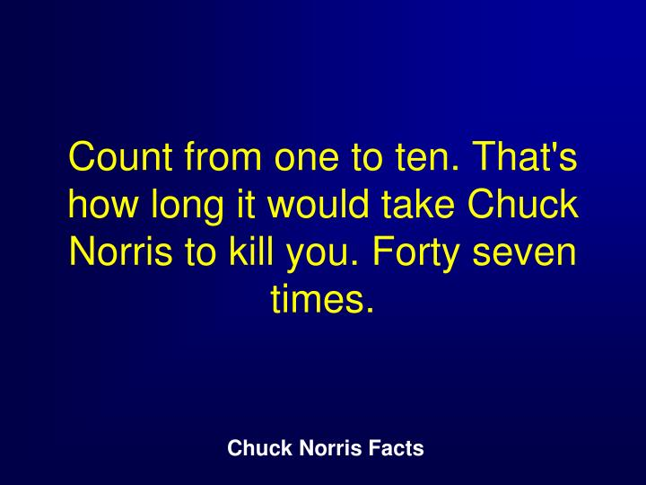 Count from one to ten. That's how long it would take Chuck Norris to kill you. Forty seven times.