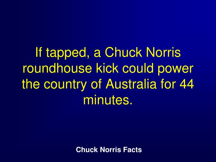 If tapped, a Chuck Norris roundhouse kick could power the country of Australia for 44 minutes.