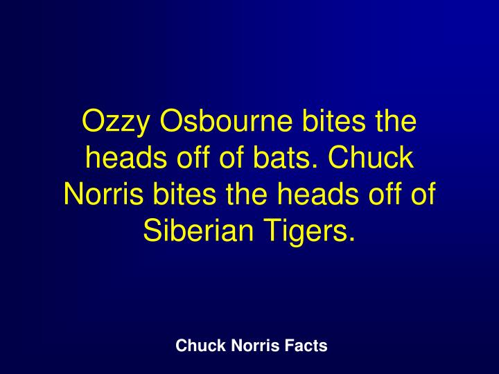 Ozzy Osbourne bites the heads off of bats. Chuck Norris bites the heads off of Siberian Tigers.