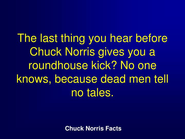 The last thing you hear before Chuck Norris gives you a roundhouse kick? No one knows, because dead men tell no tales.