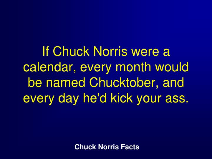 If Chuck Norris were a calendar, every month would be named Chucktober, and every day he'd kick your ass.