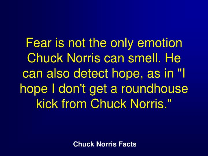 "Fear is not the only emotion Chuck Norris can smell. He can also detect hope, as in ""I hope I don't get a roundhouse kick from Chuck Norris."""