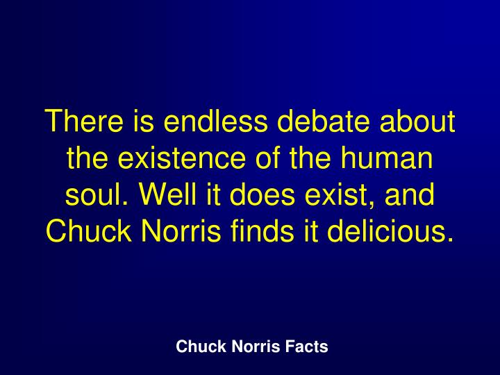 There is endless debate about the existence of the human soul. Well it does exist, and Chuck Norris finds it delicious.