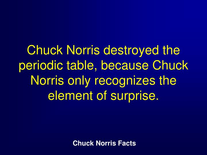 Chuck Norris destroyed the periodic table, because Chuck Norris only recognizes the element of surprise.