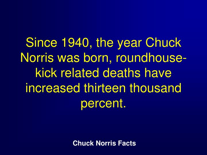 Since 1940, the year Chuck Norris was born, roundhouse-kick related deaths have increased thirteen thousand percent.