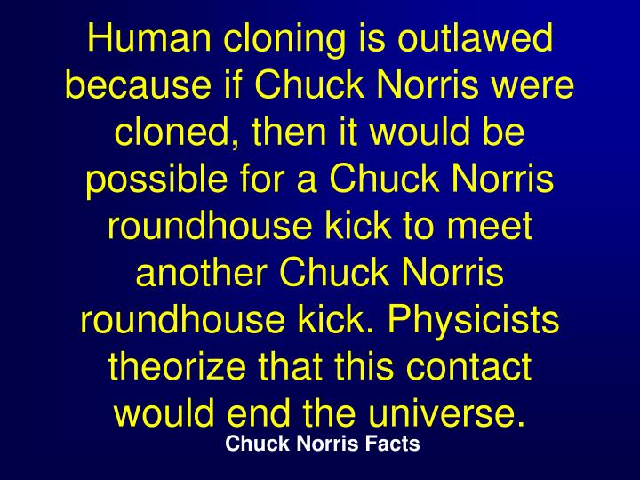 Human cloning is outlawed because if Chuck Norris were cloned, then it would be possible for a Chuck Norris roundhouse kick to meet another Chuck Norris roundhouse kick. Physicists theorize that this contact would end the universe.
