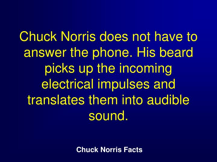 Chuck Norris does not have to answer the phone. His beard picks up the incoming electrical impulses and translates them into audible sound.