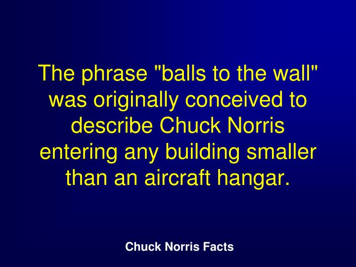 "The phrase ""balls to the wall"" was originally conceived to describe Chuck Norris entering any building smaller than an aircraft hangar."
