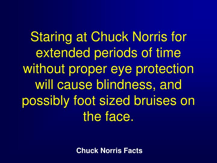 Staring at Chuck Norris for extended periods of time without proper eye protection will cause blindness, and possibly foot sized bruises on the face.