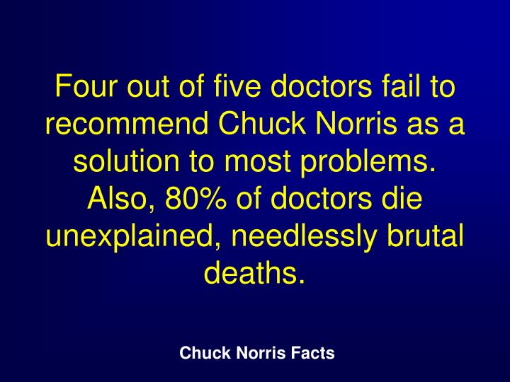 Four out of five doctors fail to recommend Chuck Norris as a solution to most problems. Also, 80% of doctors die unexplained, needlessly brutal deaths.