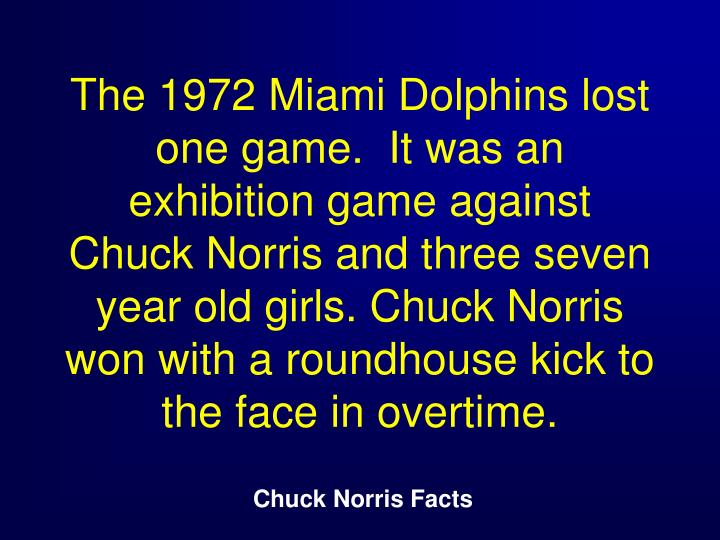 The 1972 Miami Dolphins lost one game.  It was an exhibition game against Chuck Norris and three seven year old girls. Chuck Norris won with a roundhouse kick to the face in overtime.