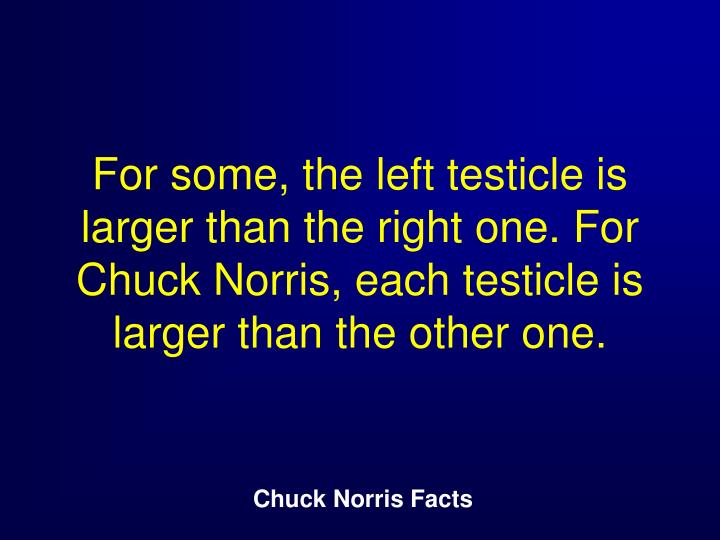 For some, the left testicle is larger than the right one. For Chuck Norris, each testicle is larger than the other one.