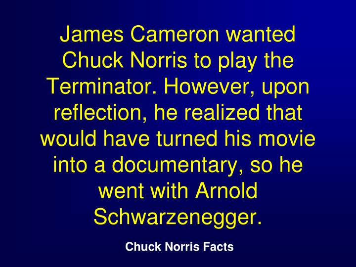 James Cameron wanted Chuck Norris to play the Terminator. However, upon reflection, he realized that would have turned his movie into a documentary, so he went with Arnold Schwarzenegger.