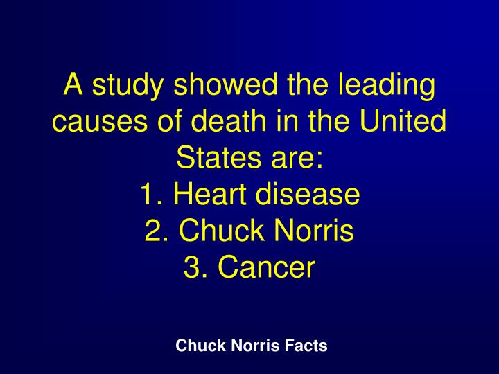 A study showed the leading causes of death in the United States are: