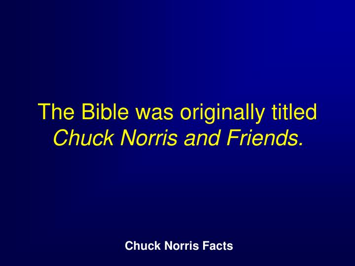 The Bible was originally titled
