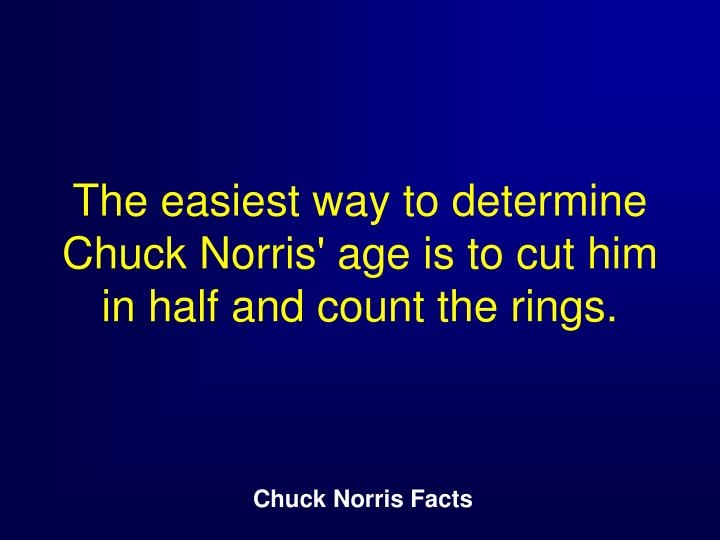 The easiest way to determine Chuck Norris' age is to cut him in half and count the rings.