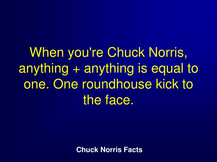 When you're Chuck Norris, anything + anything is equal to one. One roundhouse kick to the face.