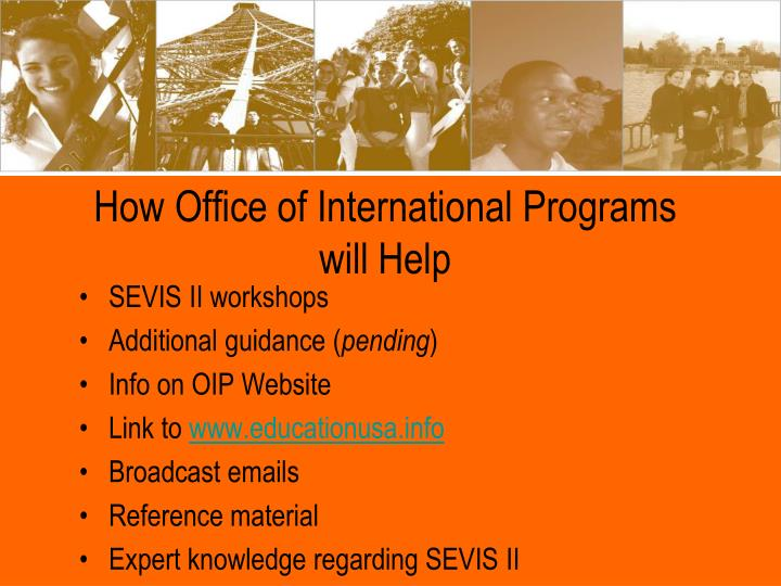 How Office of International Programs will Help