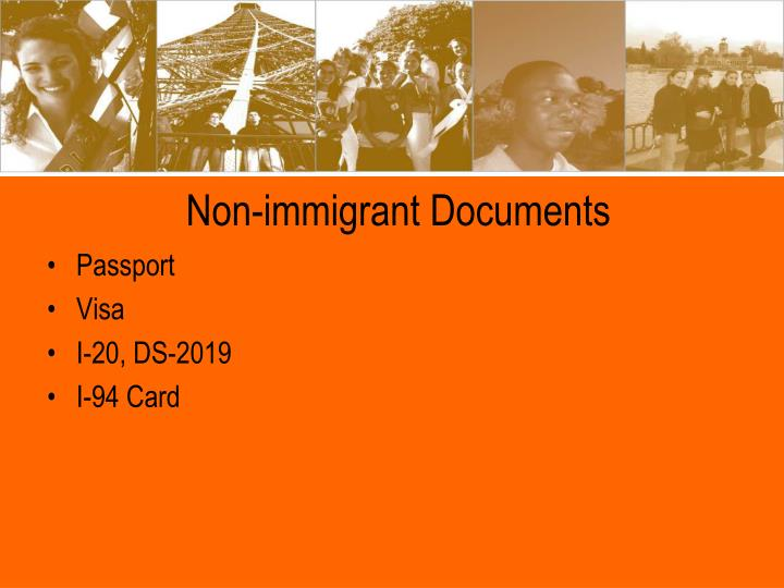 Non immigrant documents