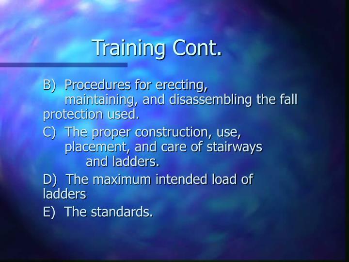 Training Cont.
