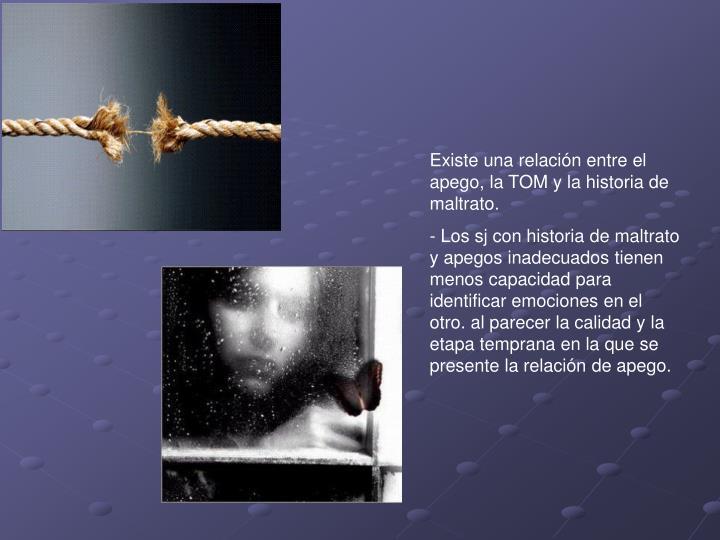 Existe una relación entre el apego, la TOM y la historia de maltrato.