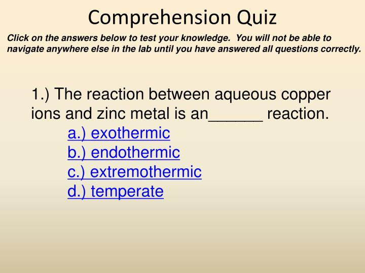 Comprehension Quiz
