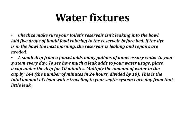 Water fixtures