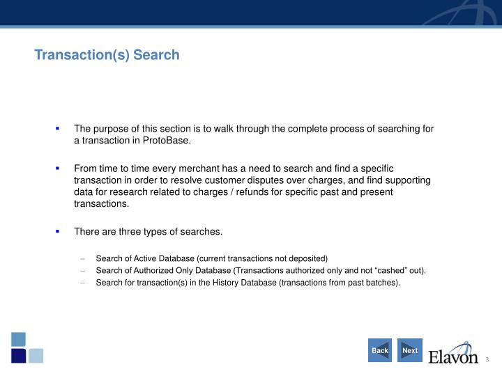 Transaction(s) Search