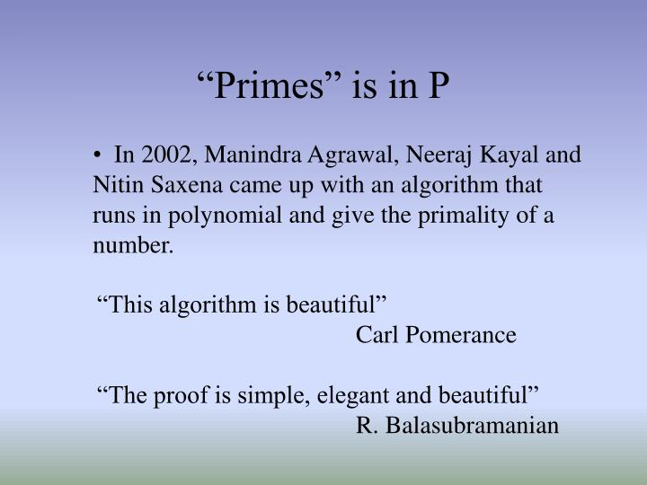 """Primes"" is in P"