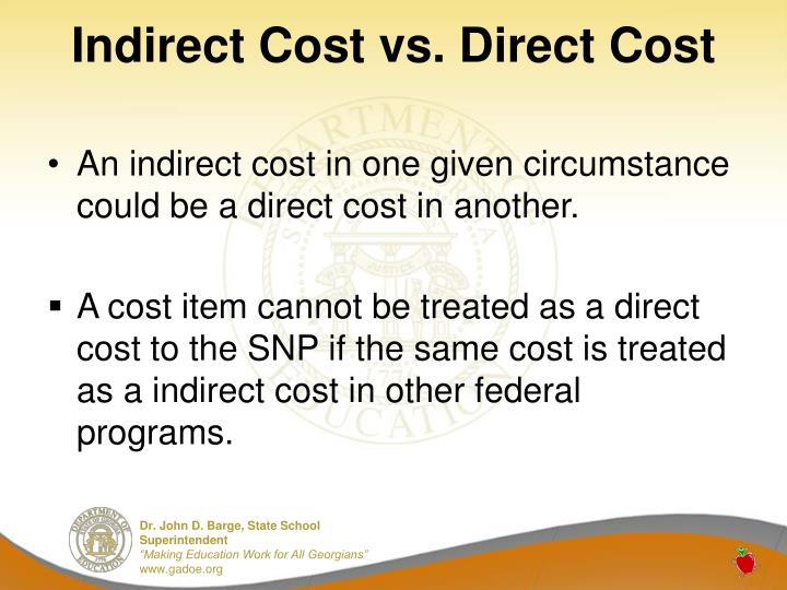Indirect Cost vs. Direct Cost