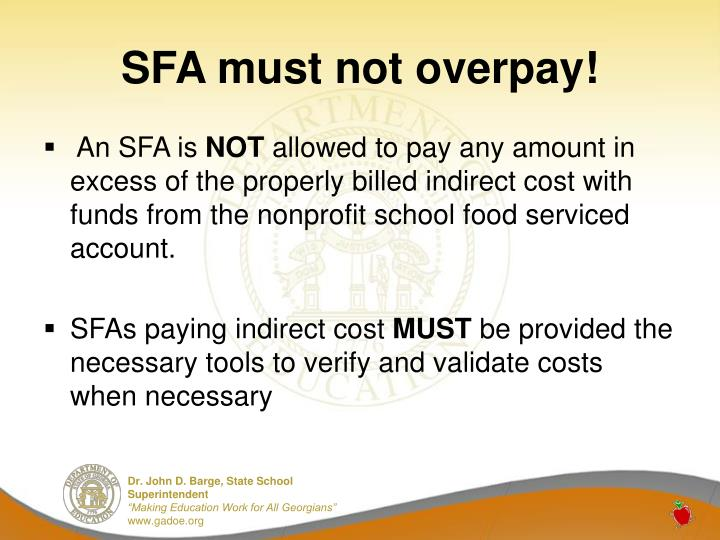 SFA must not overpay!