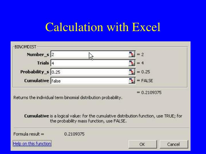 Calculation with Excel