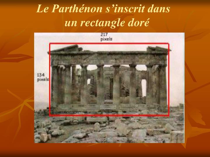 Le Parthénon s'inscrit dans un rectangle doré