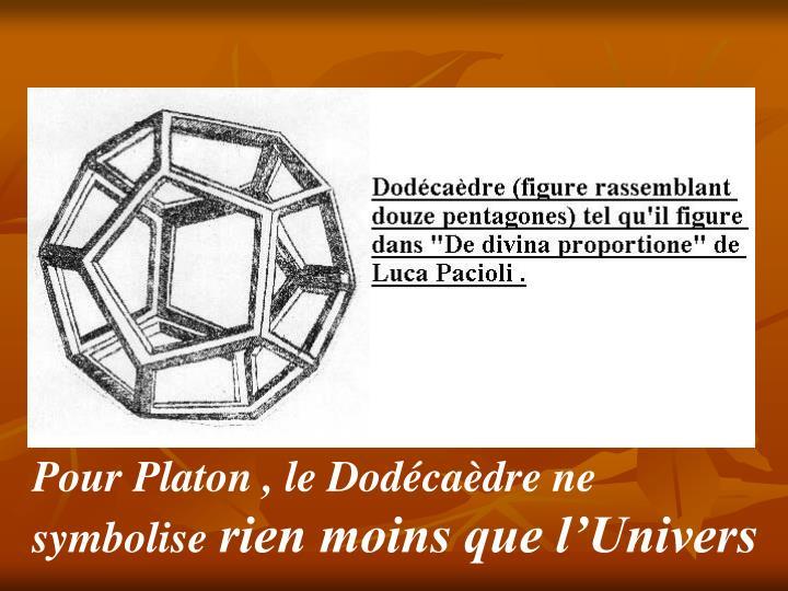 Pour Platon , le Dodécaèdre ne symbolise
