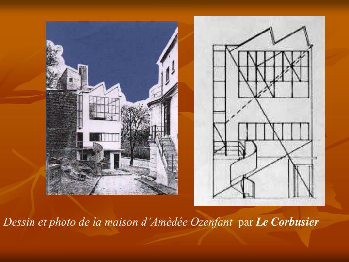 Dessin et photo de la maison d'Amèdée Ozenfant