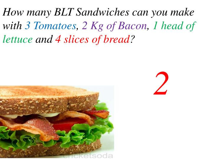 How many BLT Sandwiches can you make with