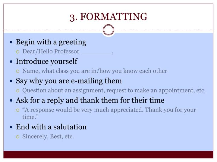 3. FORMATTING