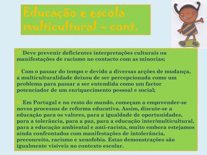 Educação e escola multicultural –