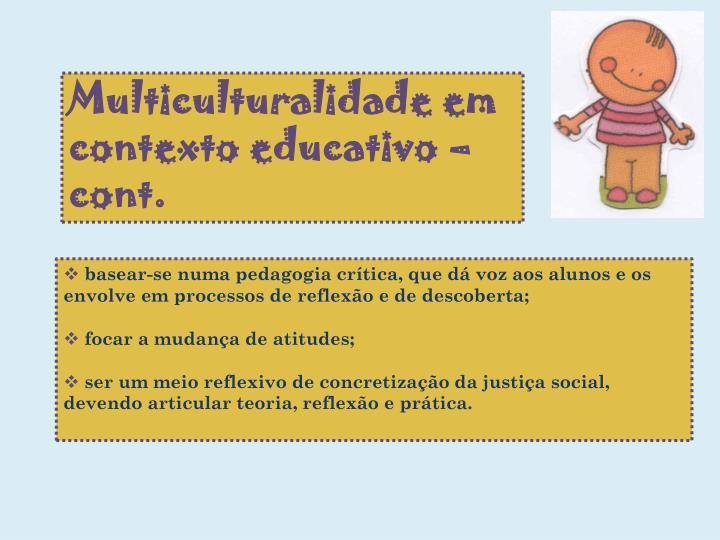 Multiculturalidade em contexto educativo