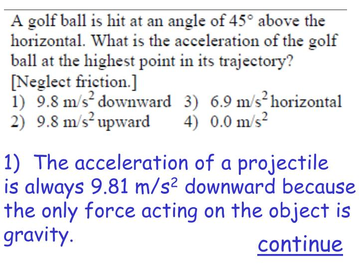 The acceleration of a projectile